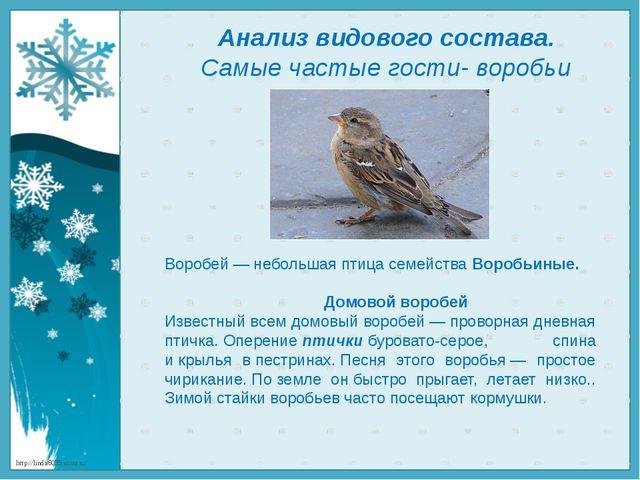 Анализ видового состава. Самые частые гости- воробьи Воробей — небольшая птиц...