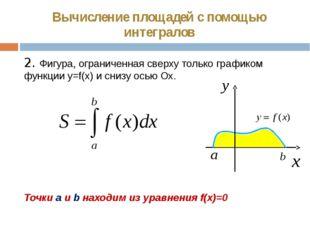 Вычисление площадей с помощью интегралов 2. Фигура, ограниченная сверху тольк