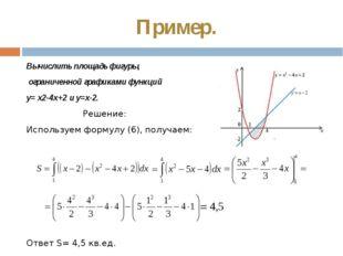 Пример. Вычислить площадь фигуры, ограниченной графиками функций у= х2-4х+2 и