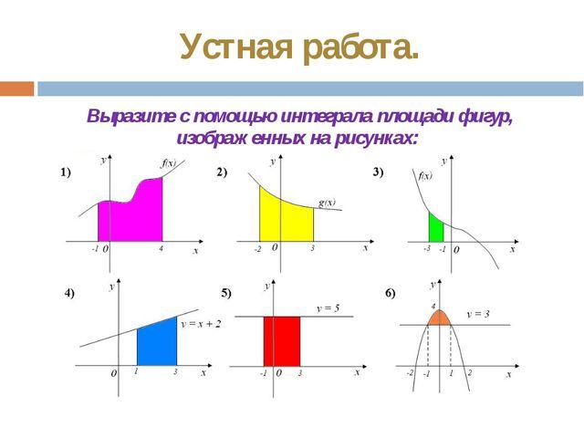 Устная работа. Выразите с помощью интеграла площади фигур, изображенных на ри...