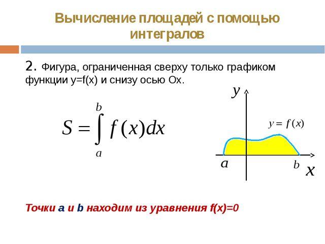 Вычисление площадей с помощью интегралов 2. Фигура, ограниченная сверху тольк...