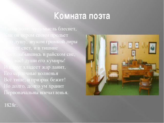 Комната поэта Таков поэт: чуть мысль блеснет, Как он пером своим прольет Всю...
