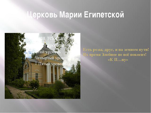 Церковь Марии Египетской Есть розы, друг, и на земном пути! Их время Злобное...