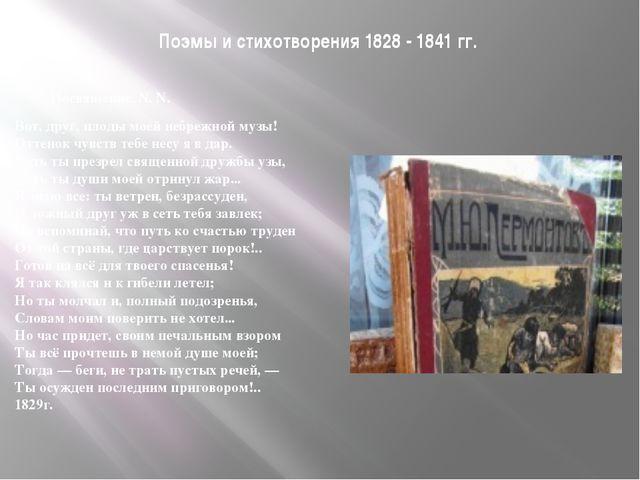 Поэмы и стихотворения 1828 - 1841 гг. Посвящение. N. N. Вот, друг, плоды м...