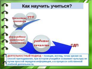 Как научить учиться? СДП ДЕЯТЕЛЬНОСТНЫЙ ПОДХОД − позиция, взгляд, точка зрени