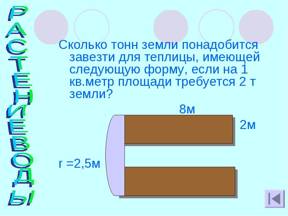 Сколько тонн земли понадобится завезти для теплицы, имеющей следующую форму,...