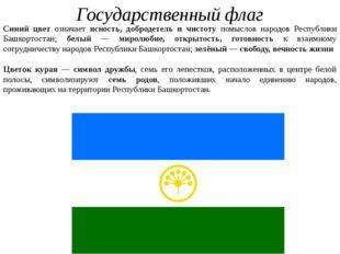 Государственный флаг Синий цвет означает ясность, добродетель и чистоту помыс