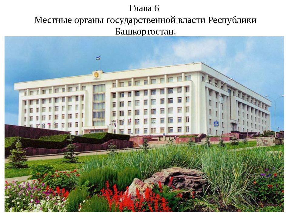 Глава 6 Местные органы государственной власти Республики Башкортостан.