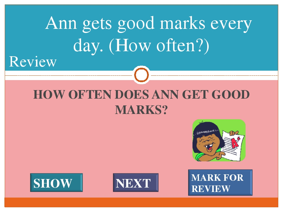 HOW OFTEN DOES ANN GET GOOD MARKS? Ann gets good marks every day. (How often?...