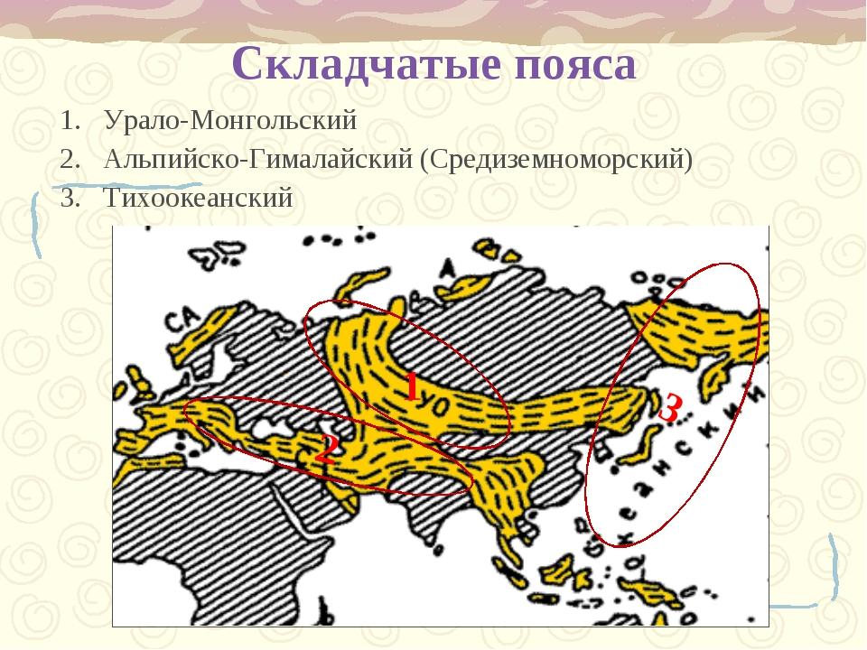 Складчатые пояса Урало-Монгольский Альпийско-Гималайский (Средиземноморский)...