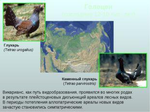 Голоцен (последние 12-10 тыс. лет) Викарианс, как путь видообразования, прояв