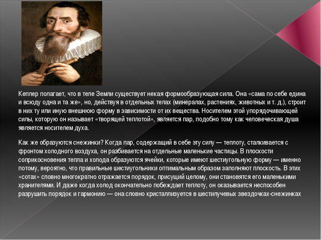 Кеплер полагает, что в теле Земли существует некая формообразующая сила. Она...