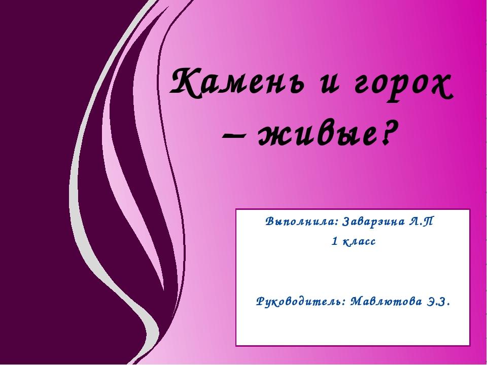 Выполнила: Заварзина Л.П 1 класс Руководитель: Мавлютова Э.З. Камень и горох...