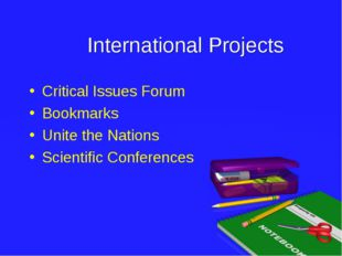 International Projects Critical Issues Forum Bookmarks Unite the Nations Sci