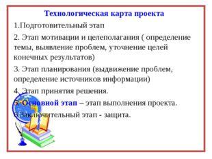 Технологическая карта проекта Подготовительный этап Этап мотивации и целепола