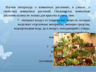 Изучив литературу о комнатных растениях, я узнала о свойствах комнатных ра