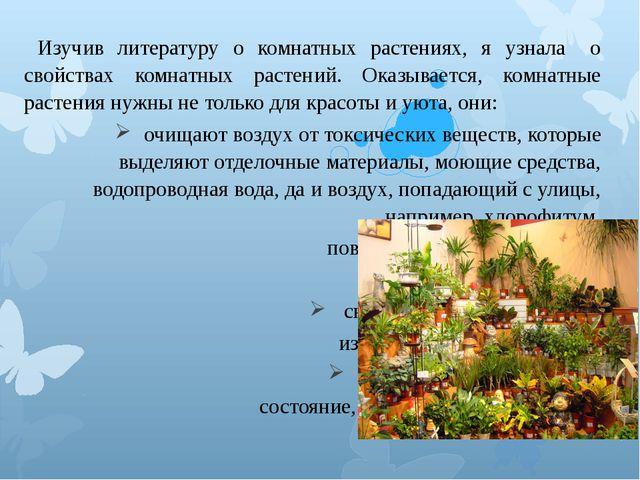 Изучив литературу о комнатных растениях, я узнала о свойствах комнатных ра...
