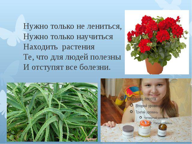 Нужно только не лениться, Нужно только научиться Находить растения Те, что д...