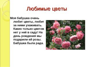 Любимые цветы Моя бабушка очень любит цветы, любит за ними ухаживать. Каких т