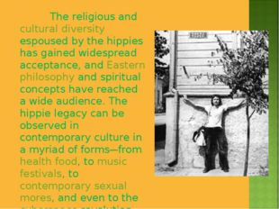 The religious and cultural diversity espoused by the hippies has gained wide