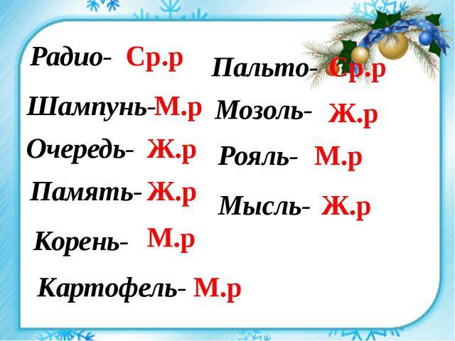 Радио- Шампунь- Очередь- Память- Корень- Картофель- Пальто- Мозоль- Рояль- Мы...