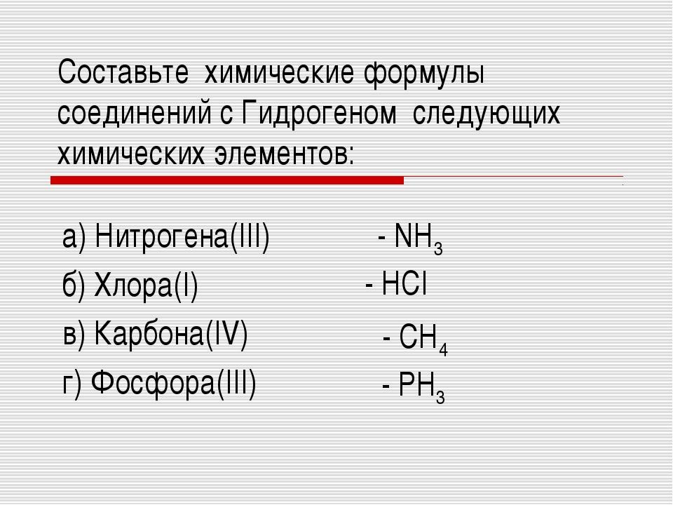 Составьте химические формулы соединений с Гидрогеном следующих химических эле...