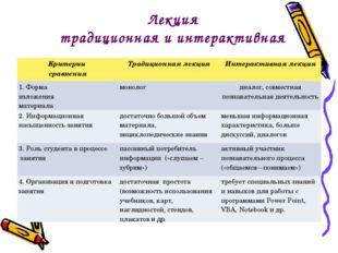 Лекция традиционная и интерактивная Критерии сравненияТрадиционная лекцияИн