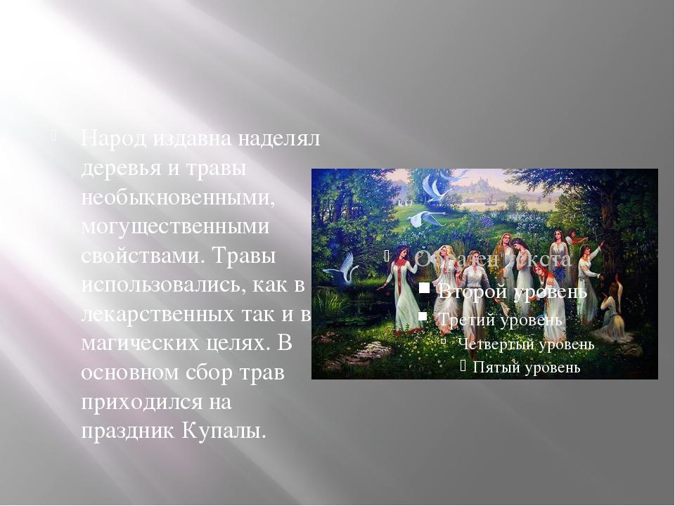 Народ издавна наделял деревья и травы необыкновенными, могущественными свойс...