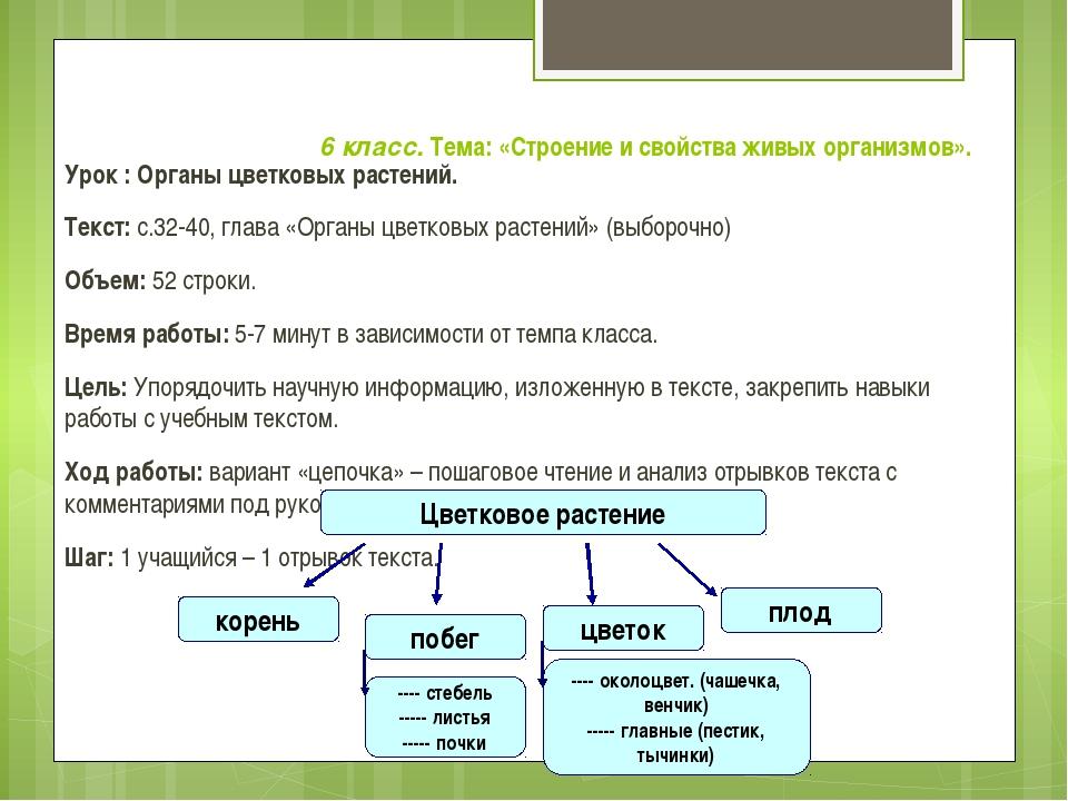 6 класс. Тема: «Строение и свойства живых организмов». Урок : Органы цветков...
