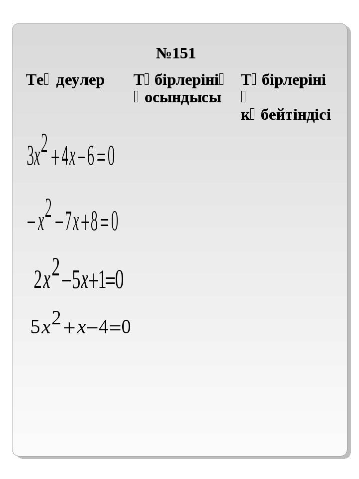 №151 ТеңдеулерТүбірлерінің қосындысыТүбірлерінің көбейтіндісі