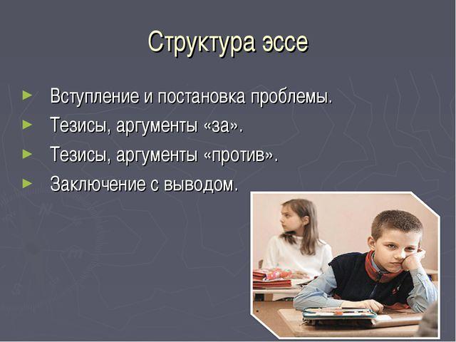 Структура эссе Вступление и постановка проблемы. Тезисы, аргументы «за». Тези...