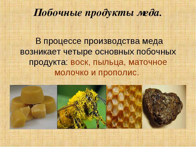 Побочные продукты меда. В процессе производства меда возникает четыре основны...