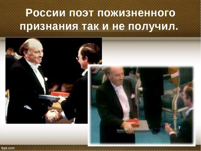 России поэт пожизненного признания так и не получил.