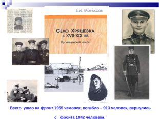 Всего ушло на фронт 1955 человек, погибло – 913 человек, вернулись с фронта
