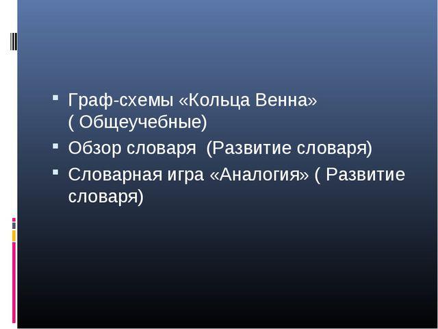 Граф-схемы «Кольца Венна» (Общеучебные) Обзор словаря (Развитие словаря) Сло...