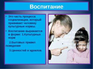 Воспитание Это часть процесса социализации, который прививает человеку культу