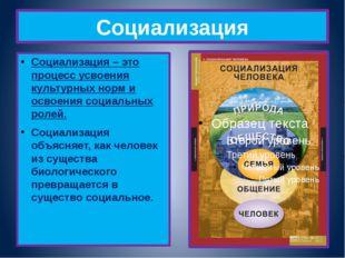 Социализация Социализация – это процесс усвоения культурных норм и освоения с