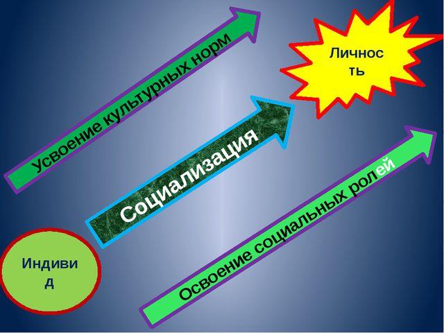 Личность Индивид Социализация Усвоение культурных норм Освоение социальных ро...