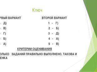 Ключ ПЕРВЫЙ ВАРИАНТ ВТОРОЙ ВАРИАНТ 1 - Д) 1 - Г) 2 - В) 2 - Б) 3 - Г) 3 - Д)