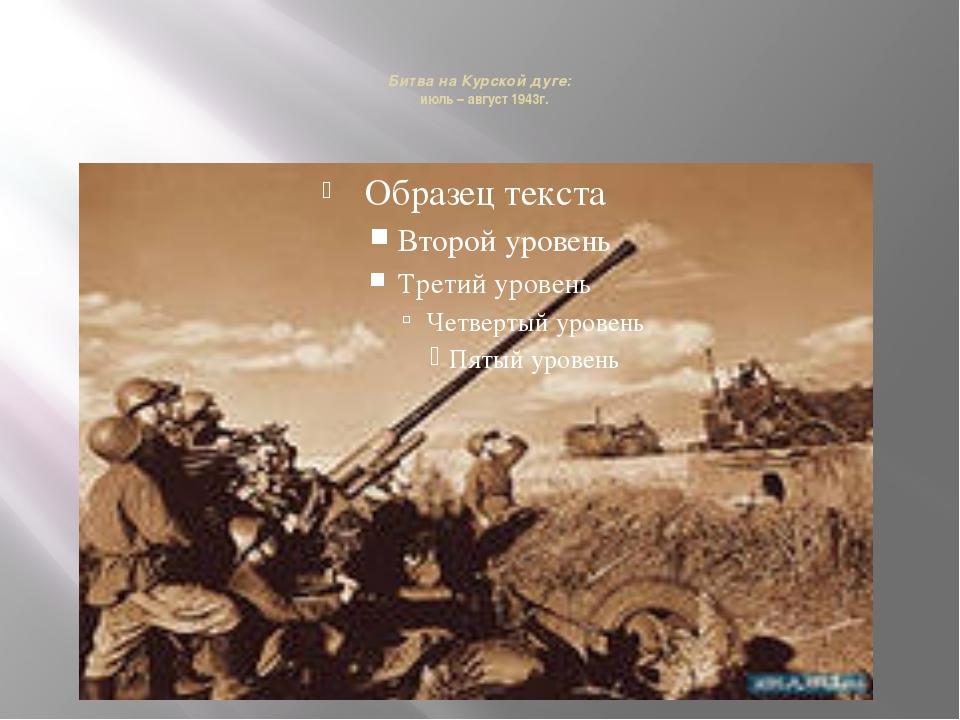 Битва на Курской дуге: июль – август 1943г.