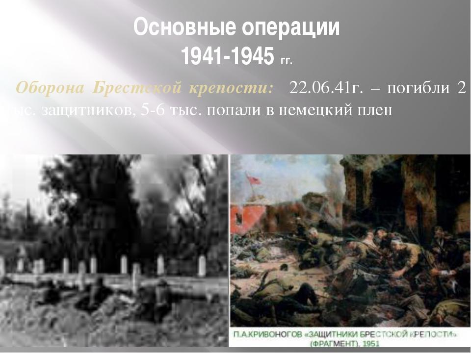 Основные операции 1941-1945 гг. Оборона Брестской крепости: 22.06.41г. – поги...
