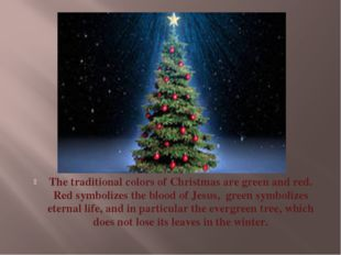 The traditional colors of Christmas are green and red. Red symbolizes the blo