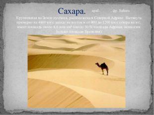 Сахара. Крупнейшая на Земле пустыня, расположена в Северной Африке. Вытянута