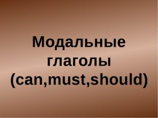 Модальные глаголы (can,must,should)