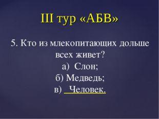 III тур «АБВ» 5. Кто из млекопитающих дольше всех живет? а) Слон; б) Медведь;