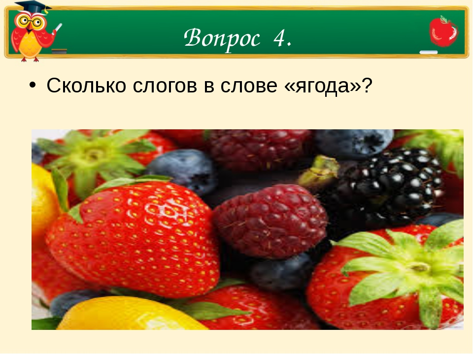 Вопрос 4. Сколько слогов в слове «ягода»?