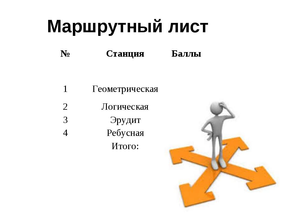 Маршрутный лист №СтанцияБаллы 1Геометрическая 2Логическая 3Эрудит 4Р...