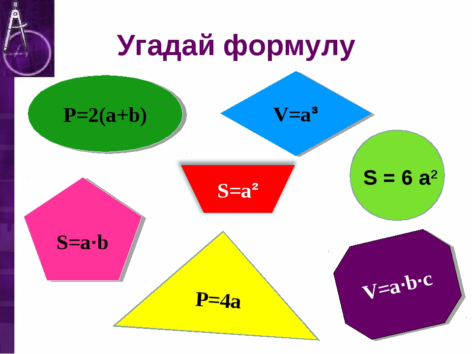 P=4a V=a·b·c V=a³ S=a·b P=2(a+b) Угадай формулу S = 6 a2