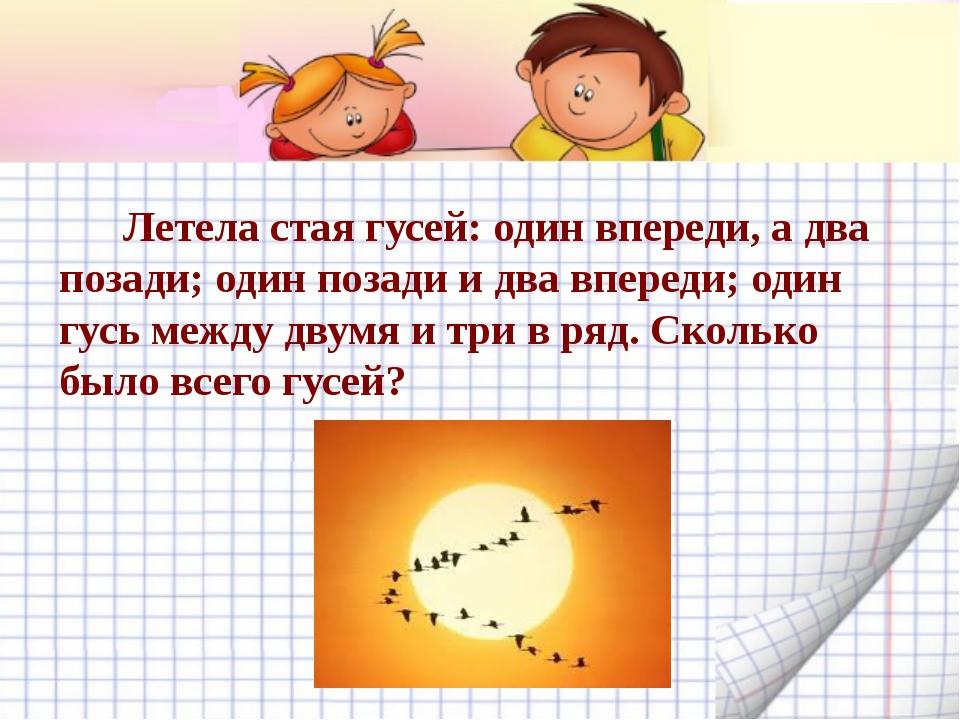 Летела стая гусей: один впереди, а два позади; один позади и два впереди; од...