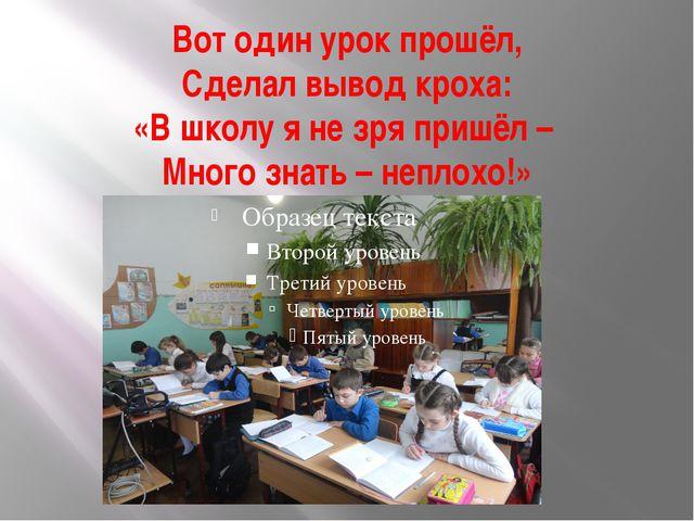 Вот один урок прошёл, Сделал вывод кроха: «В школу я не зря пришёл – Много зн...